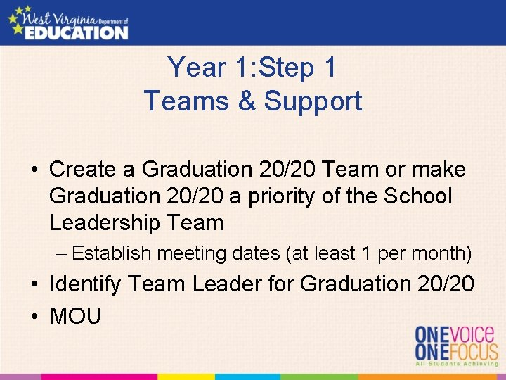 Year 1: Step 1 Teams & Support • Create a Graduation 20/20 Team or