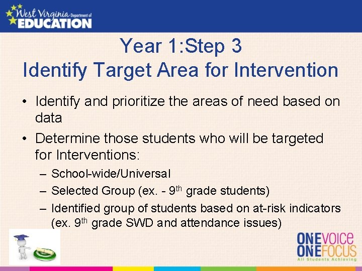 Year 1: Step 3 Identify Target Area for Intervention • Identify and prioritize the