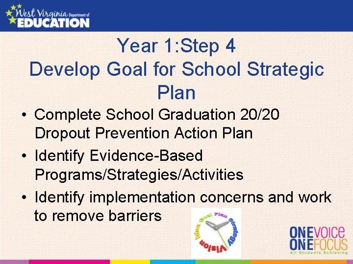 Year 1: Step 4 Develop Goal for School Strategic Plan • Complete School Graduation