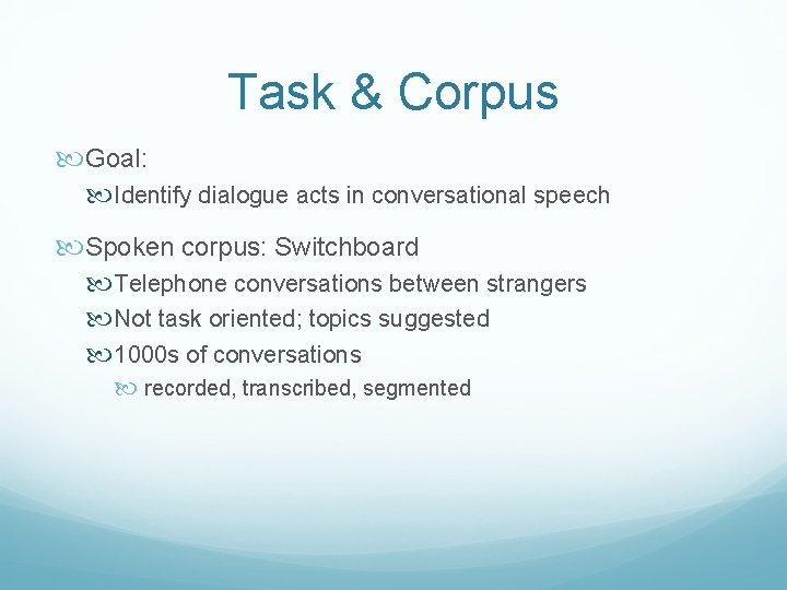 Task & Corpus Goal: Identify dialogue acts in conversational speech Spoken corpus: Switchboard Telephone