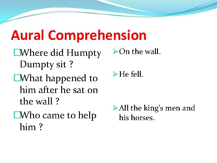 Aural Comprehension �Where did Humpty Dumpty sit ? �What happened to him after he