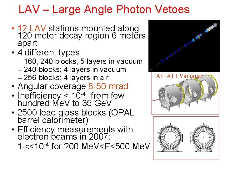 LAV – Large Angle Photon Vetoes • 12 LAV stations mounted along 120 meter