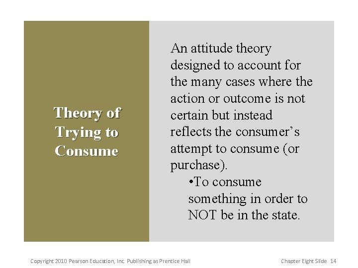 Theory of Trying to Consume An attitude theory designed to account for the many