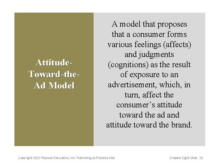 Attitude. Toward-the. Ad Model A model that proposes that a consumer forms various feelings