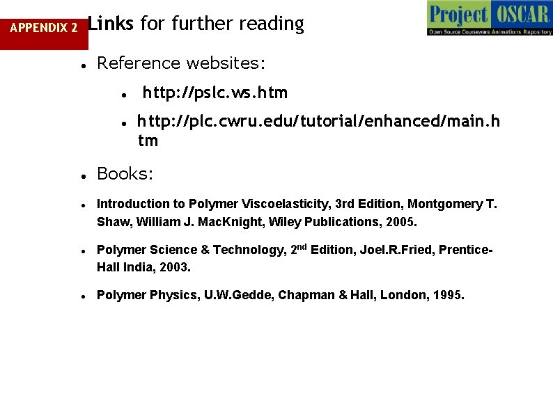 Links for further reading APPENDIX 2 Reference websites: http: //pslc. ws. htm http: //plc.