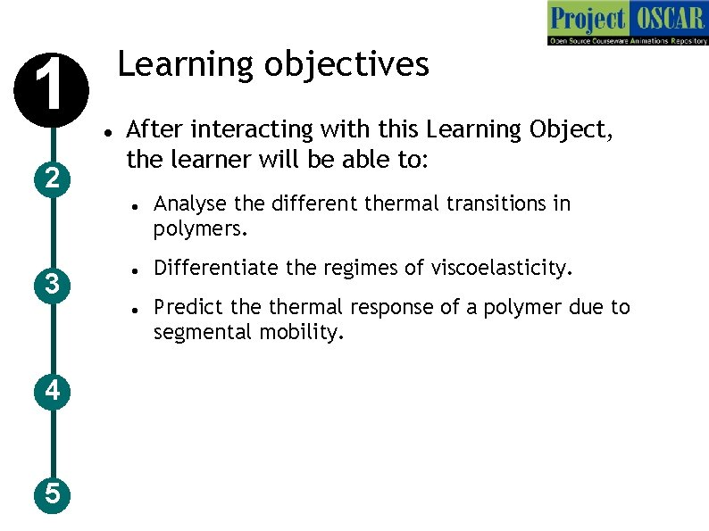 Learning objectives 1 2 After interacting with this Learning Object, the learner will be