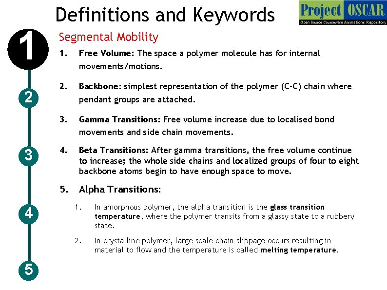 1 2 3 4 5 Definitions and Keywords Segmental Mobility 1. Free Volume: The