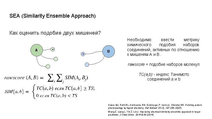 SEA (Similarity Ensemble Approach) Как оценить подобие двух мишеней? A a b B Необходимо