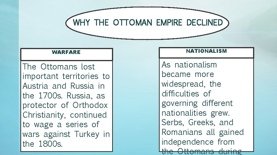 WHY THE OTTOMAN EMPIRE DECLINED WARFARE The Ottomans lost important territories to Austria and