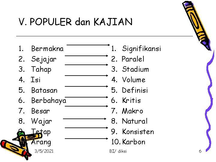 V. POPULER dan KAJIAN 1. 2. 3. 4. 5. 6. 7. 8. 9. 10.
