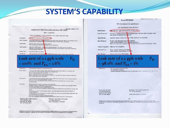 SYSTEM'S CAPABILITY Leak rate of 0. 1 gph with = 100% and PFA =
