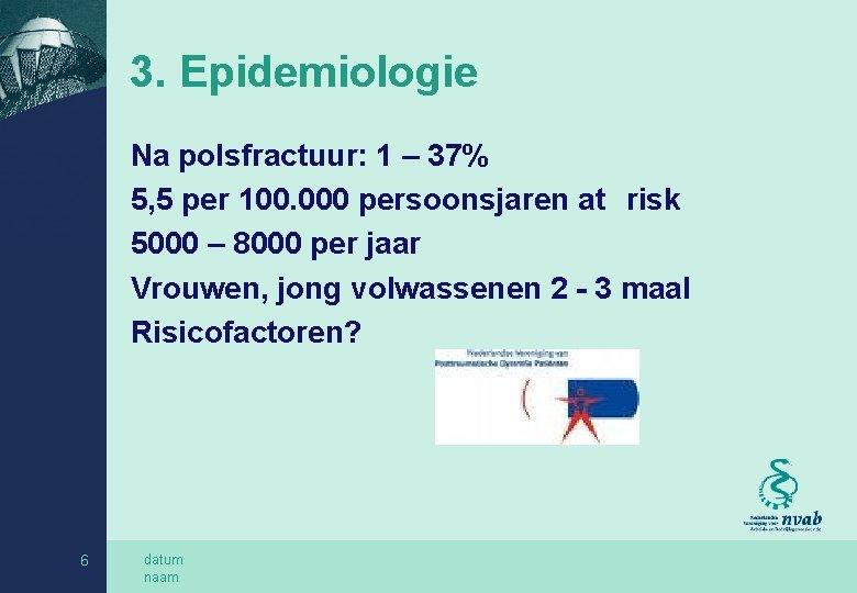 3. Epidemiologie Na polsfractuur: 1 – 37% 5, 5 per 100. 000 persoonsjaren at