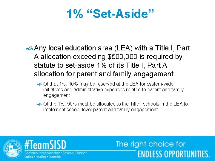 """1% """"Set-Aside"""" Any local education area (LEA) with a Title I, Part A allocation"""