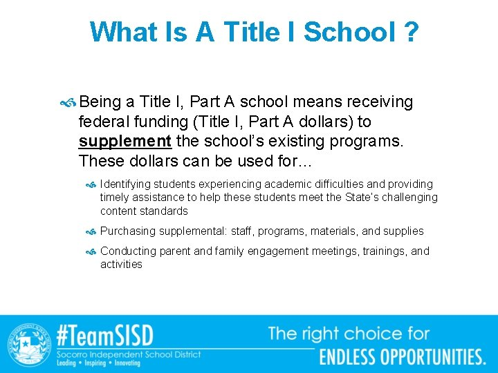 What Is A Title I School ? Being a Title I, Part A school