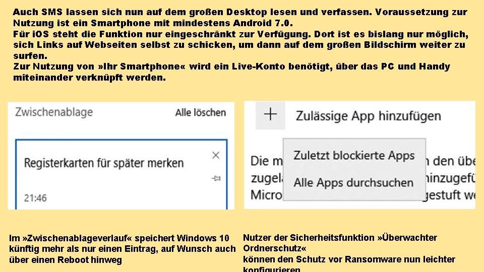 Auch SMS lassen sich nun auf dem großen Desktop lesen und verfassen. Voraussetzung zur