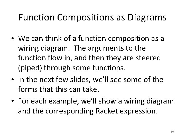 Function Compositions as Diagrams • We can think of a function composition as a