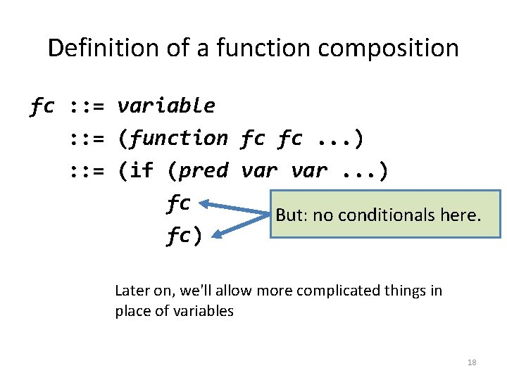 Definition of a function composition fc : : = variable : : = (function