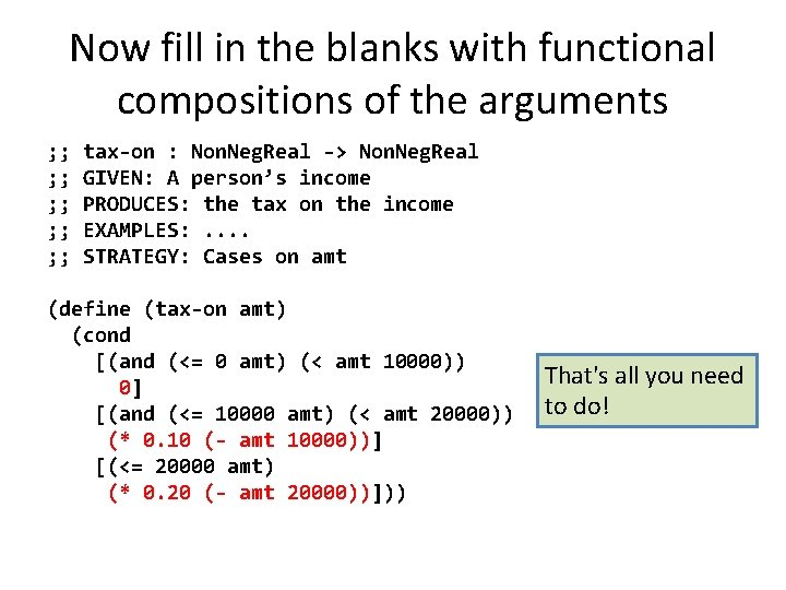 Now fill in the blanks with functional compositions of the arguments ; ; tax-on