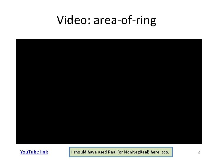 Video: area-of-ring You. Tube link I should have used Real (or Non. Neg. Real)