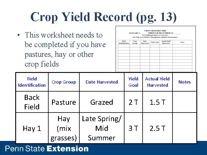 Crop Yield Record (pg. 13) • This worksheet needs to be completed if you