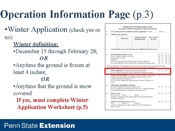 Operation Information Page (p. 3) • Winter Application (check yes or no) Winter definition: