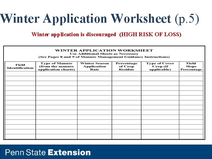 Winter Application Worksheet (p. 5) Winter application is discouraged (HIGH RISK OF LOSS)