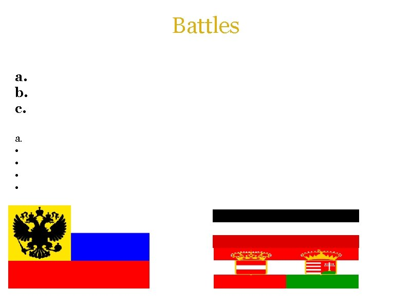 Battles There were numerous battles going on on the Eastern Front from 1914 -1916.