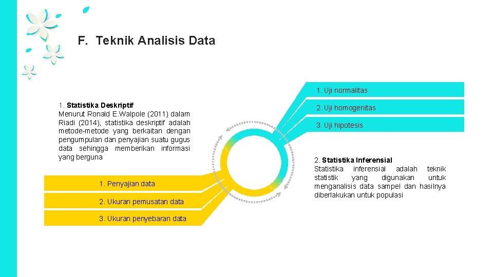 F. Teknik Analisis Data 1. Uji normalitas 1. Statistika Deskriptif Menurut Ronald E. Walpole