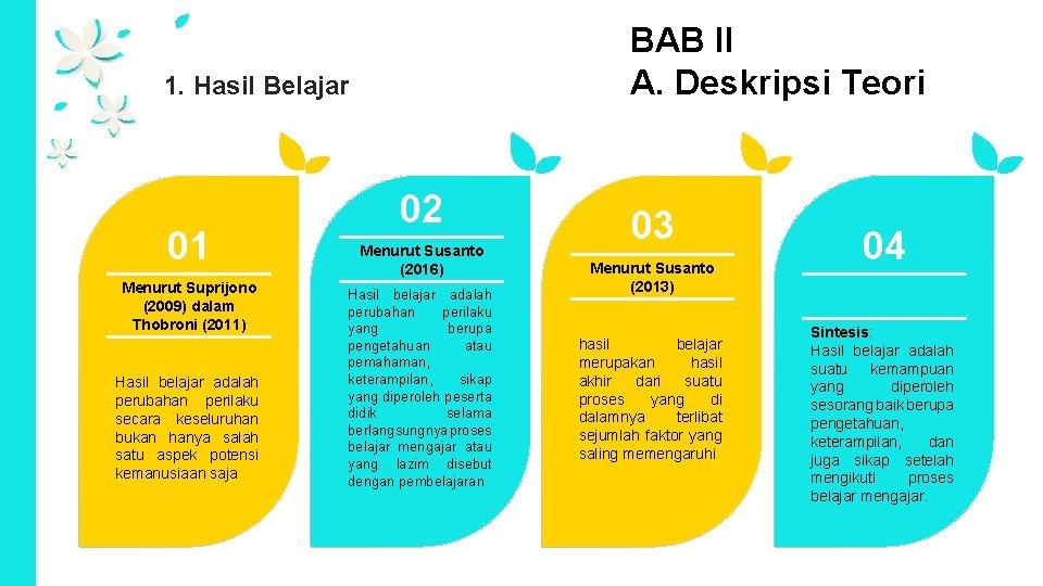 BAB II A. Deskripsi Teori 1. Hasil Belajar 01 Menurut Suprijono (2009) dalam Thobroni
