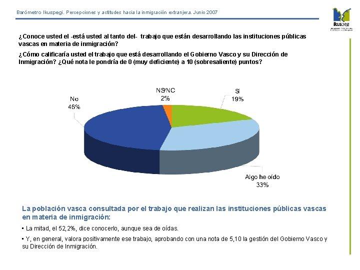 Barómetro Ikuspegi. Percepciones y actitudes hacia la inmigración extranjera. Junio 2007 ¿Conoce usted el