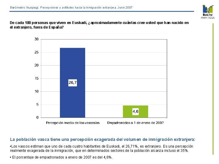 Barómetro Ikuspegi. Percepciones y actitudes hacia la inmigración extranjera. Junio 2007 De cada 100