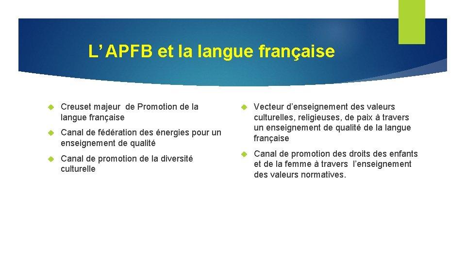 L' APFB et la langue française Creuset majeur de Promotion de la langue française