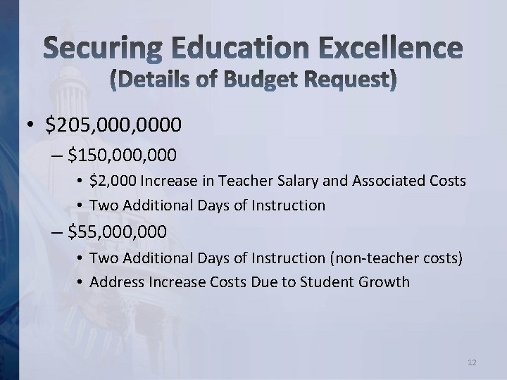 • $205, 0000 – $150, 000 • $2, 000 Increase in Teacher Salary