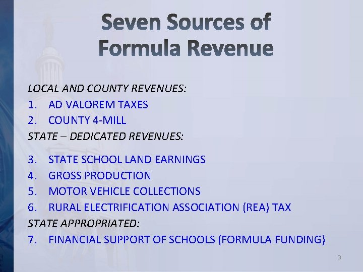 LOCAL AND COUNTY REVENUES: 1. AD VALOREM TAXES 2. COUNTY 4 -MILL STATE –