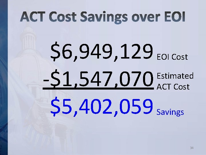 $6, 949, 129 -$1, 547, 070 $5, 402, 059 EOI Cost Estimated ACT Cost
