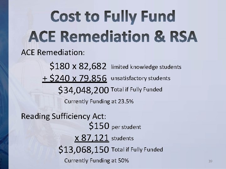 ACE Remediation: $180 x 82, 682 limited knowledge students + $240 x 79, 856