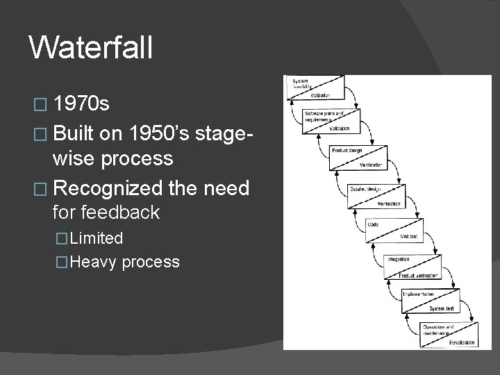 Waterfall � 1970 s � Built on 1950's stagewise process � Recognized the need