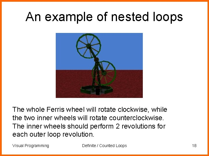 An example of nested loops The whole Ferris wheel will rotate clockwise, while the