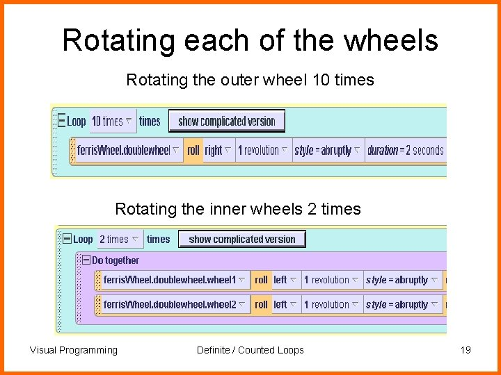 Rotating each of the wheels Rotating the outer wheel 10 times Rotating the inner