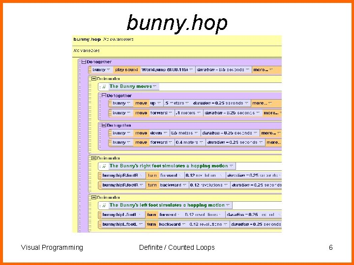 bunny. hop Visual Programming Definite / Counted Loops 6