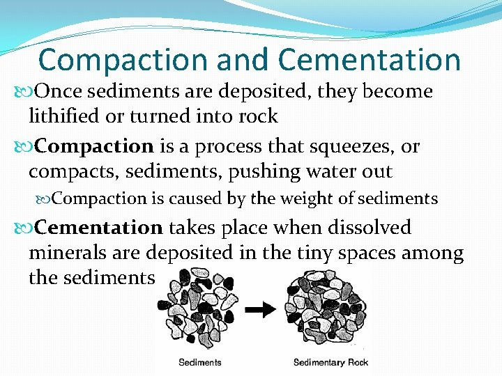 Compaction and Cementation Once sediments are deposited, they become lithified or turned into rock