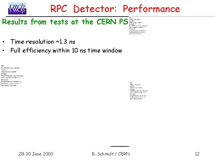 RPC Detector: Performance Results from tests at the CERN PS: • Time resolution ~1.