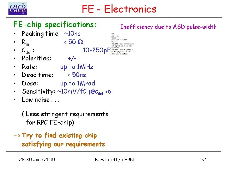 FE - Electronics FE-chip specifications: • • • Peaking time ~10 ns Rin: <