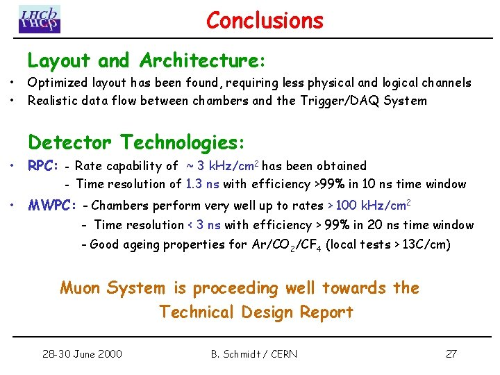 Conclusions • • Layout and Architecture: Optimized layout has been found, requiring less physical