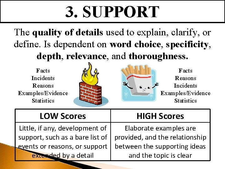 3. SUPPORT The quality of details used to explain, clarify, or define. Is dependent
