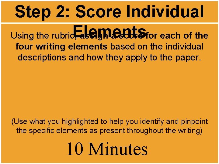Step 2: Score Individual Elements Using the rubric, assign a score for each of