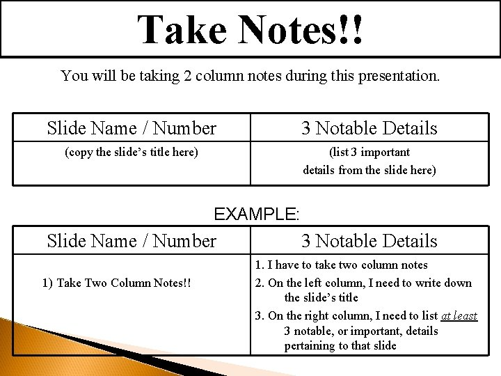 Take Notes!! You will be taking 2 column notes during this presentation. Slide Name