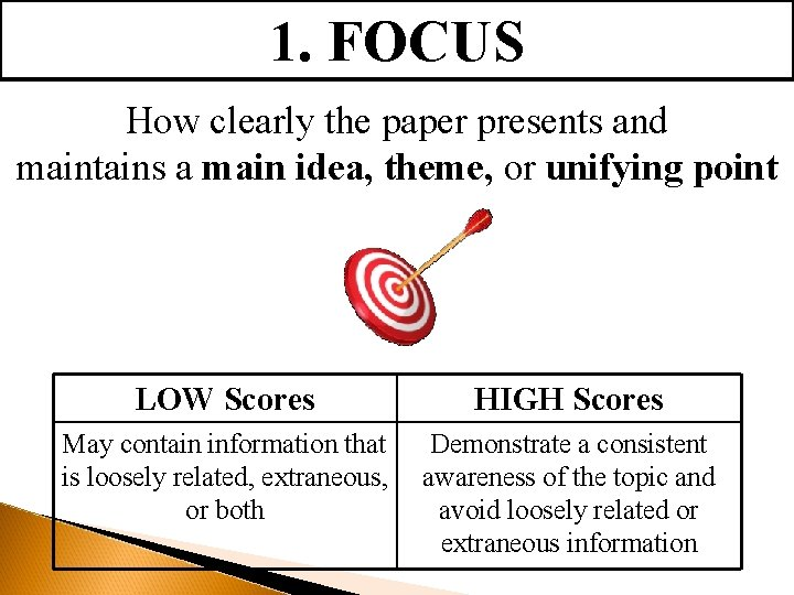 1. FOCUS How clearly the paper presents and maintains a main idea, theme, or