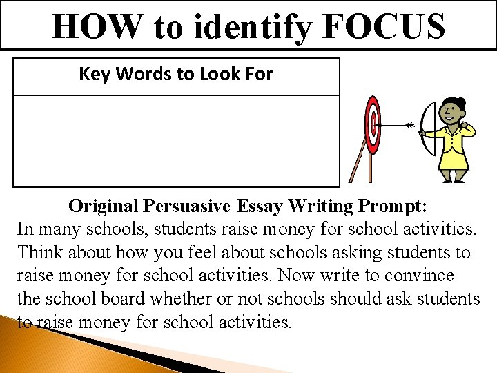 HOW to identify FOCUS Key Words to Look For Original Persuasive Essay Writing Prompt: