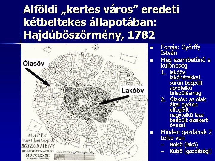 """Alföldi """"kertes város"""" eredeti kétbeltekes állapotában: Hajdúböszörmény, 1782 n n Forrás: Győrffy István Még"""